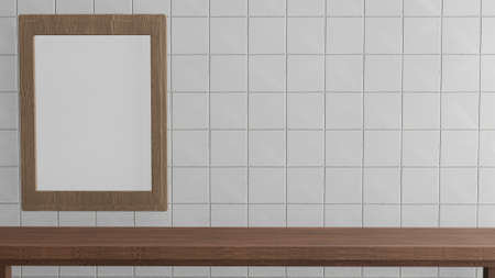 blank picture frame on white tile wall for background 3d rendering.