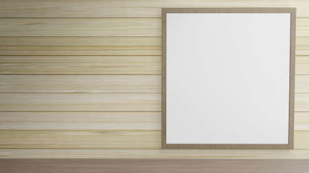 blank picture frame on wood wall for background content 3d rendering.