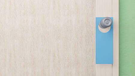 blank door hanger sign on front  room  3d rendering.