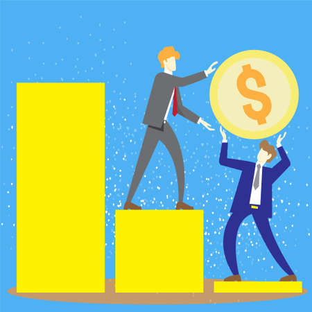two business men standing on chart and hold a gold coin vector image for business content