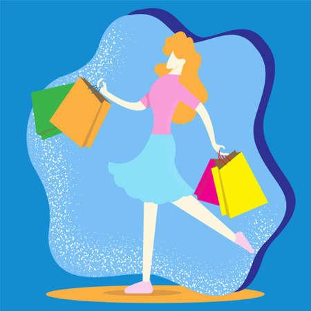 woman walk and  hold shopping bag vector image