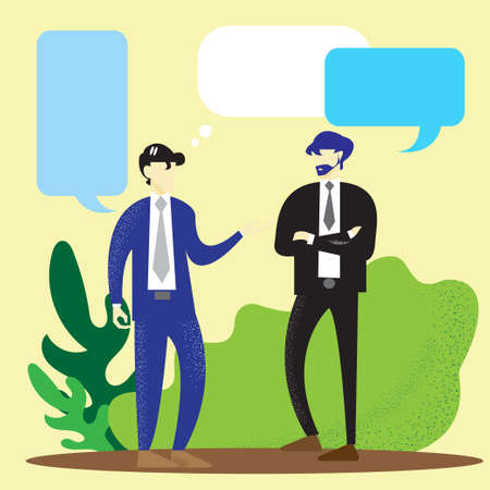 two business men talking vector image for business content.