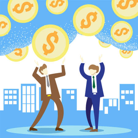 two business men gold coins falling from sky  vector image for business content