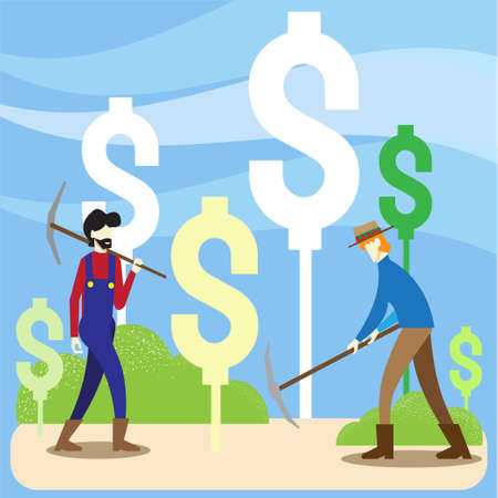 two men farmer dig money symbol vector image for yield farming business content