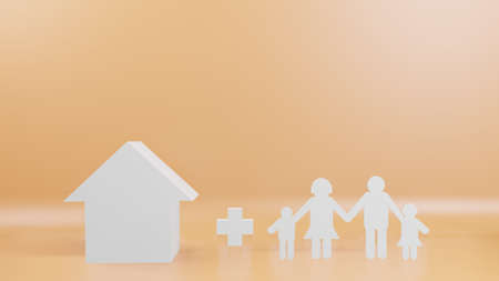 A family cut and house for background  3d rendering Stock fotó