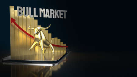 gold bull on tablet for business content 3d rendering