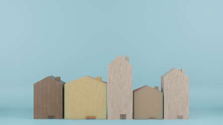 multi size  wooden homes toy on blue colour background 3d rendering