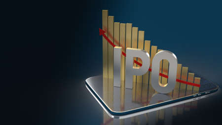 ipo  or Initial Public Offering word and chart for business content 3d rendering Zdjęcie Seryjne