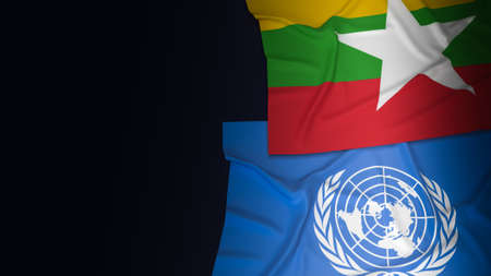 Myanmar and un  flag for editorial background content 3d rendering