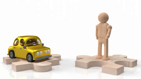man wood figure and car toy on jigsaw for car or transport content 3d rendering 写真素材 - 166735552