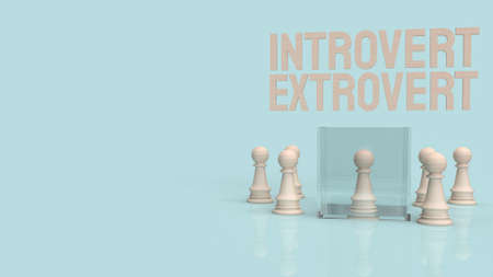 introvert  and extravert text for background 3d rendering. 写真素材 - 166993526