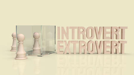 introvert  and extravert text for background 3d rendering. 写真素材 - 166993523