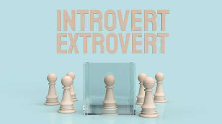 introvert  and extravert text for background 3d rendering.