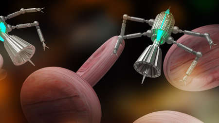 nano robotic for medical and sci background content 3d rendering 写真素材 - 166864346
