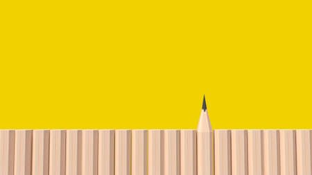 pencil wood on yellow background for education or business content 3d rendering