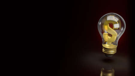 light bulb and money symbol for business content 3d rendering