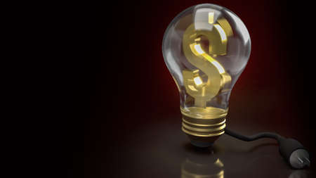 light bulb and money symbol and electric plug for electronic money or business content 3d rendering 写真素材