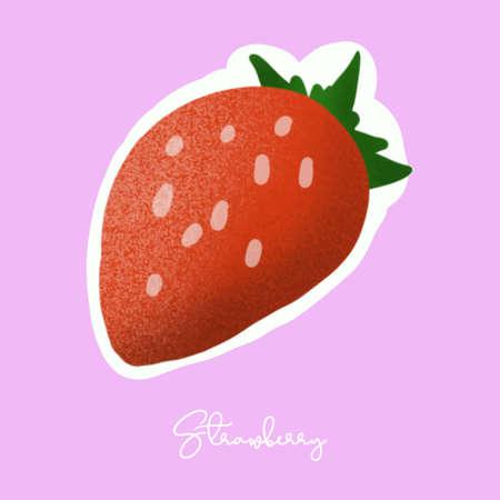 strawberry illustration image for food content.  イラスト・ベクター素材