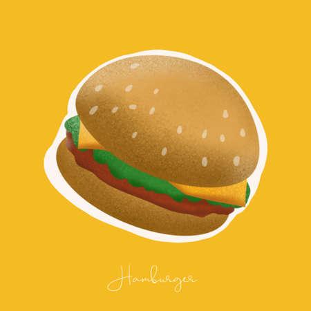hamburger illustration image for food content.