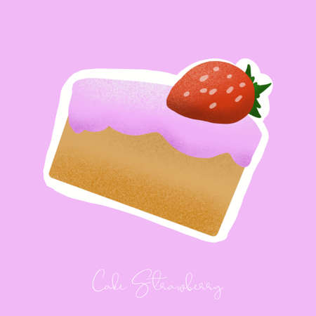cake strawberry illustration image for food content.