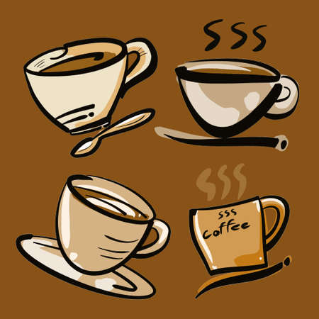 coffee cup illustration for hot drink content.