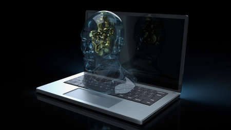human head crystal and gold gear inside on laptop  for machine learning or ai content 3d rendering
