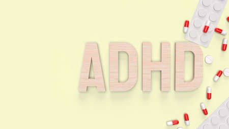 adhd wood  text and drug for medical content 3d rendering 写真素材