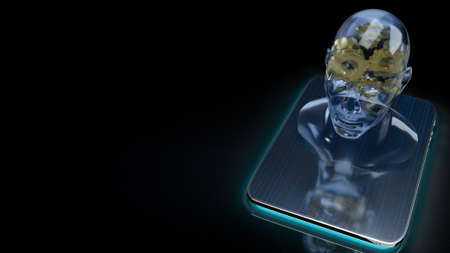 human head crystal and gold gear inside on tablet  for machine learning or ai content 3d rendering