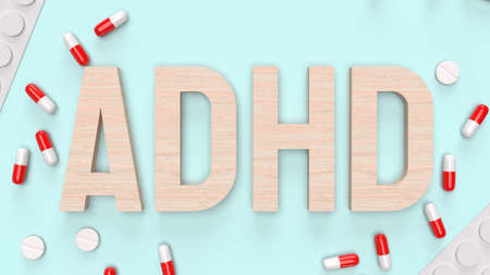adhd wood  text and drug for medical content 3d rendering 写真素材 - 167303717