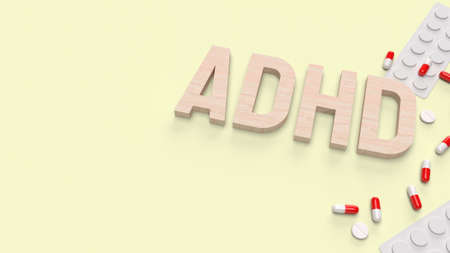 adhd wood  text and drug for medical content 3d rendering 写真素材 - 167303715