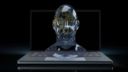 human head crystal and gold gear inside on laptop  for machine learning or ai content 3d rendering 写真素材 - 167105976