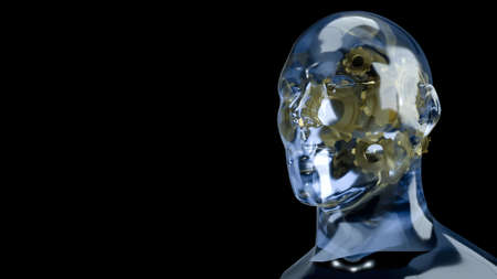 human head crystal and gold gear inside for symbol idea content 3d rendering 写真素材