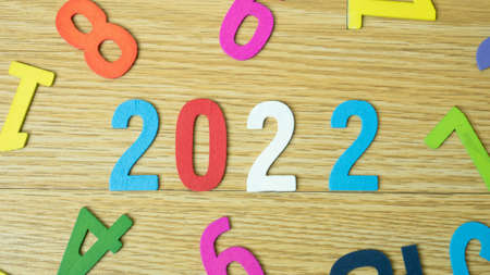 2022 wood plate multi colour for holiday content 写真素材