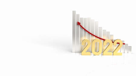 The 2022 gold and chart arrow up for business content 3d rendering