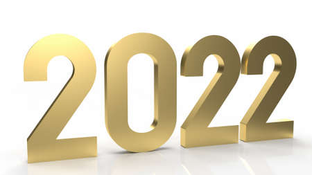 2022 gold on white background for happy new year content 3d rendering