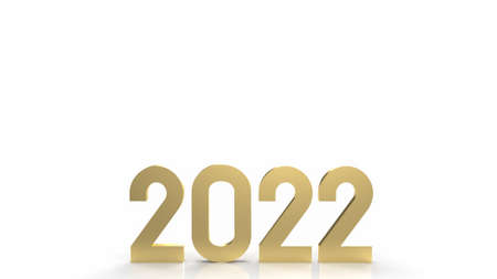 2022 gold on white background for happy new year content 3d rendering 写真素材 - 167269053