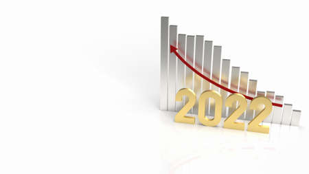 The 2022 gold and chart arrow up for business content 3d rendering 写真素材 - 167303784