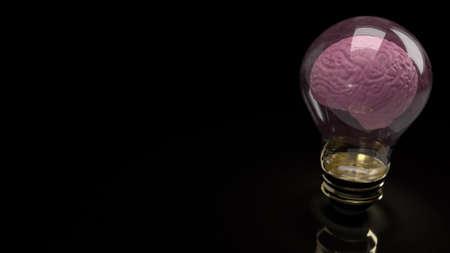 brain inside light bulb  for education or sci content 3d rendering 写真素材