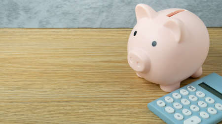 piggy bank and blue calculator for saving money or business  concept