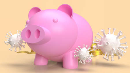 piggy bank and virus for money or business in coronavirus crisis concept 3d rendering