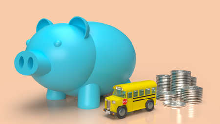 blue piggy bank  and school bus for money plan to education concept 3d rendering 免版税图像
