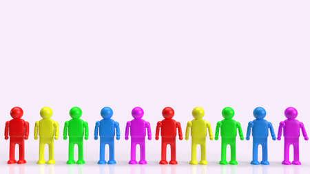 human figure multicolor  for lgbt concept 3d rendering