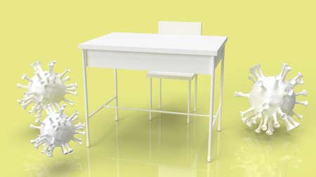 school table and virus for coronavirus crisis in school concept 3d rendering