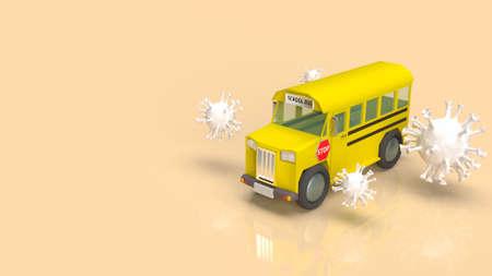 school bus  and white virus for coronavirus crisis in school concept 3d rendering