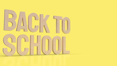 wood back to school text in yellow color for education concept 3d rendering
