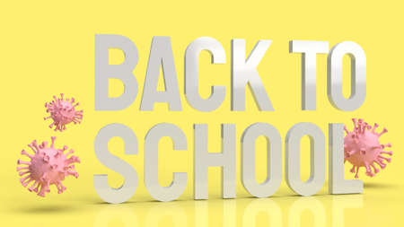 wood back to school text in yellow color and virus for covid 19 in school concept 3d rendering