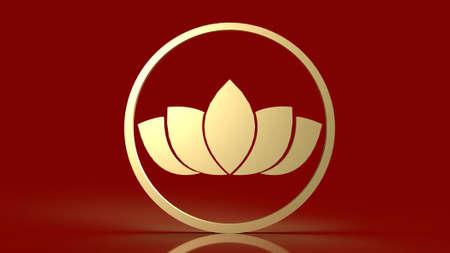 luxury  gold lotus on red background  3d rendering 免版税图像