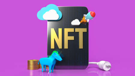 nft or Non Fungible Token for art and technology concept 3d rendering 免版税图像