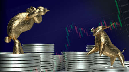 gold bull and bear for business concept 3d rendering
