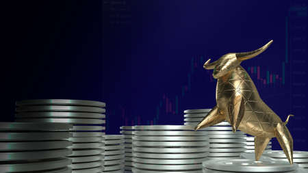 gold bull and coins for business concept 3d rendering